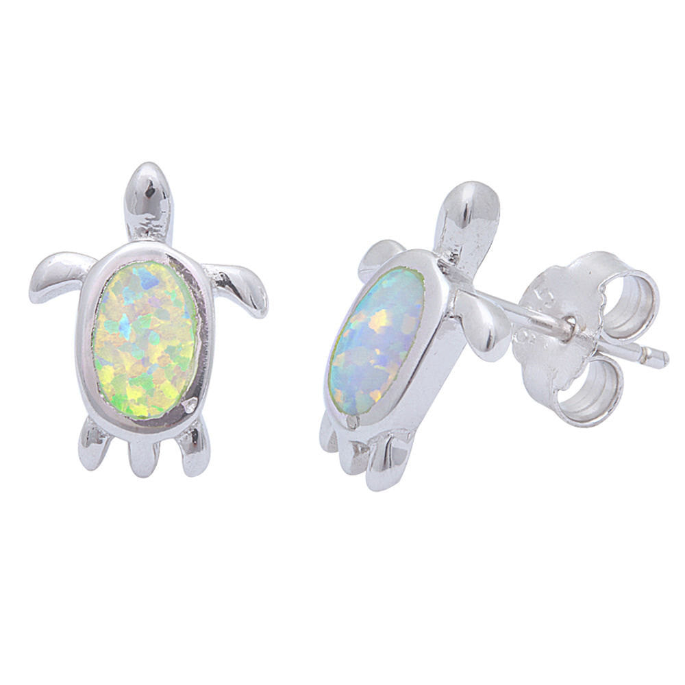 Turtle Earring Turtle Stud Earring Turtle Stud Post Earring Solid 925 Sterling Silver Lab Fire White Opal Cute Nature Inspired Turtle - Blue Apple Jewelry