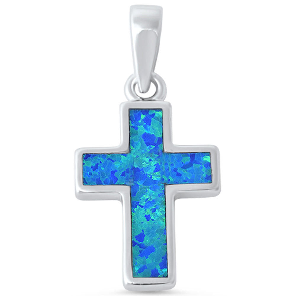 Cross Pendant Lab Blue Opal Simple Plain Blue Opal Charm for necklace Solid 925 Sterling Silver (17 mm), Lab Opal Pendant - Blue Apple Jewelry