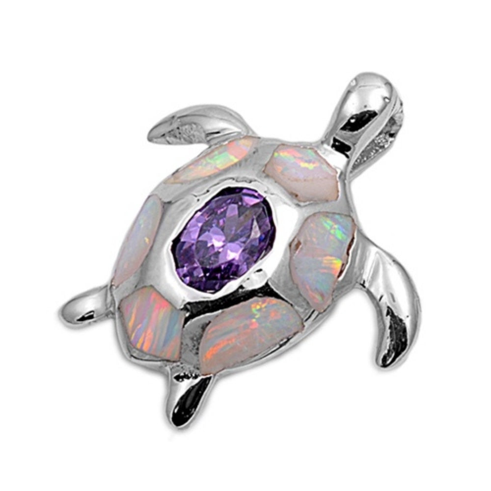 Cute Turtle Pendant Lab White Opal Oval Cut Bezel Purple Amethyst Solid 925 Sterling Silver Pendant Turtle Lover Good Luck Gift Turtle Charm - Blue Apple Jewelry