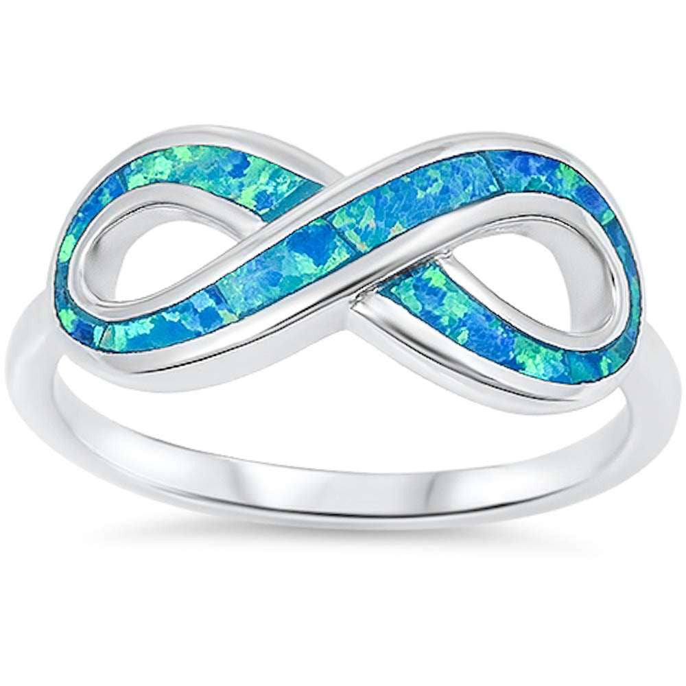 Opal Infinity Ring Valentines Crisscross Crossover Knot Ring Lab Blue Opal Solid 925 Sterling Silver Infinity Promise Ring Eternity Gift - Blue Apple Jewelry