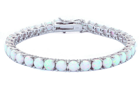 "14.5CT Bracelet Round Shape White Opal Bracelet Solid 925 Sterling Silver 6"" Lab Round White Opal Round Cut Bracelet Love Valentines Gift - Blue Apple Jewelry"