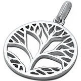 Tree of Life Medallion Solid Rhodium 925 Sterling Silver Original 28mm Round Tree Of Life Pendant Charm For Necklace Tree of Life Jewelry - Blue Apple Jewelry