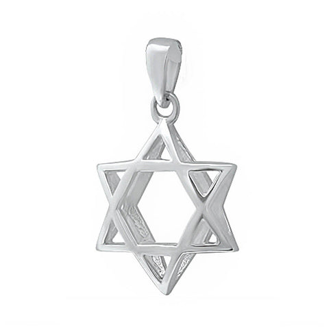 Star Of David Pendant Solid 925 Sterling Silver 3D Design Plain Simple Jewish Star of David Jewelry Star of David Charm Judaism Gift - Blue Apple Jewelry