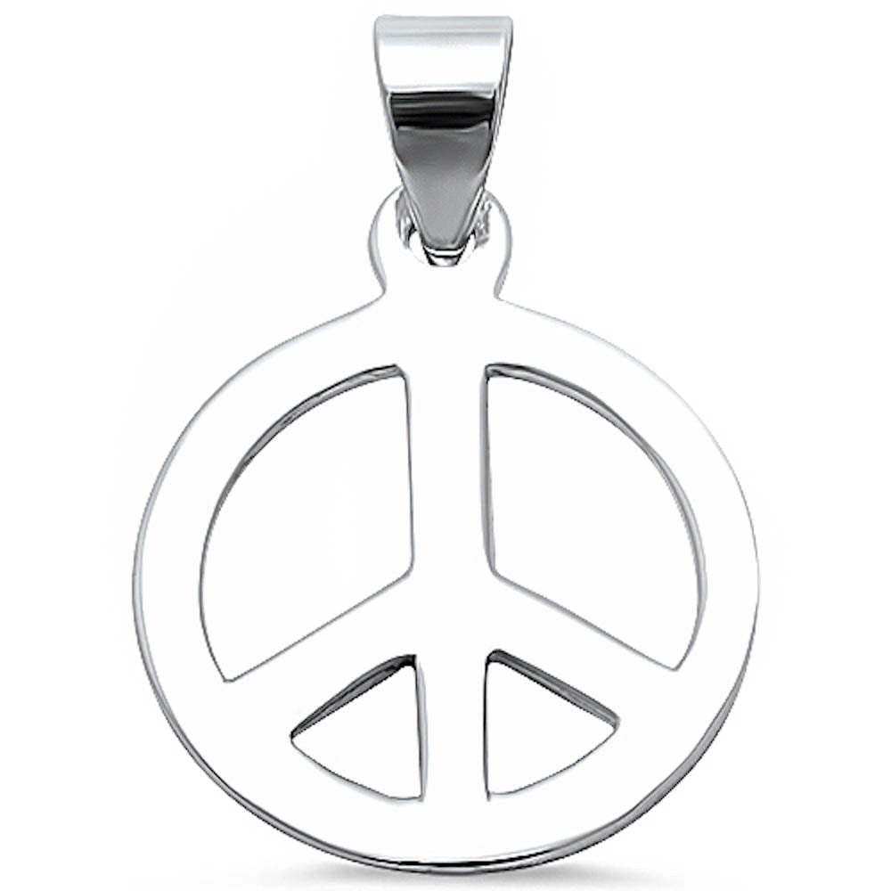 Peace Pendants Plain Peace Charm Pendant For Necklace Solid 925 Sterling Silver