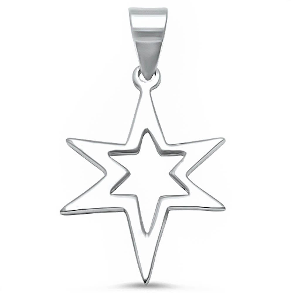 "1.2"" Star Pendant Charm Solid 925 Sterling Silver Plain Simple Star Charm For Necklace Star Jewelry - Blue Apple Jewelry"