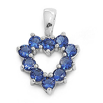 Open Heart 16mm pendant Charm Necklace Solid 925 Sterling Silver Blue Round Blue Sapphire  CZ Lover's Symbolic Gift - Blue Apple Jewelry