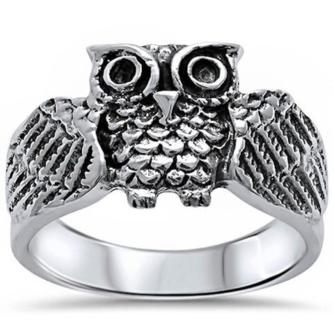 Oxidized Owl Ring Solid 925 Sterling Silver Cute Owl Ring Antique Finish Owl Ring Owl Jewelry Good Luck Gift Owl Lovers Bird Size 4-16