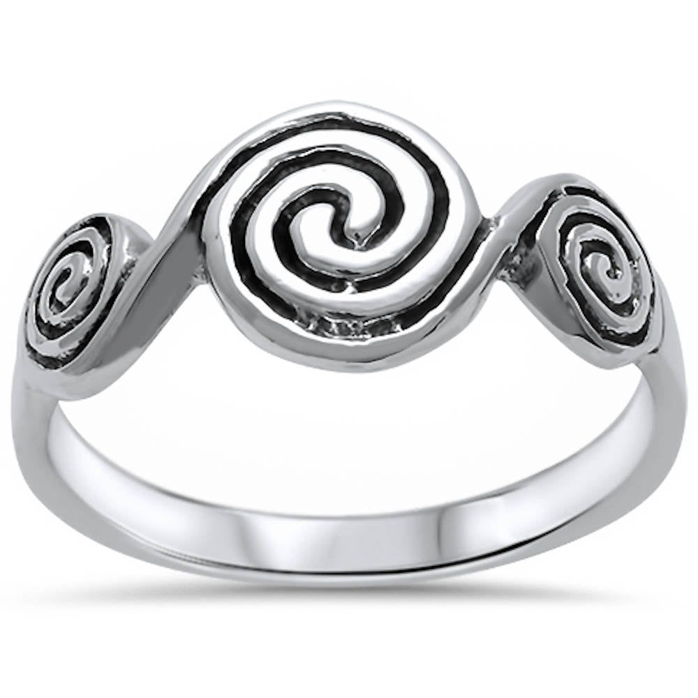 3 Spiral Ring Swirl Ring Solid 925 Sterling Silver Oxidized Swirl Ring Trendy Swirl Ring Simple Plain Ring Everyday Ring Antique finish - Blue Apple Jewelry