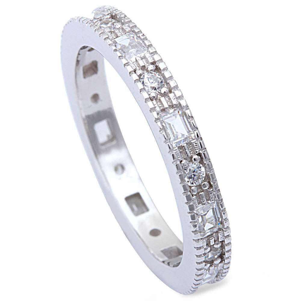 3mm Full Eternity Stackable Band 925 Sterling Silver Baguette Round Clear Diamond CZ Wedding Engagement Milgrain Band Ring Band for Ring - Blue Apple Jewelry