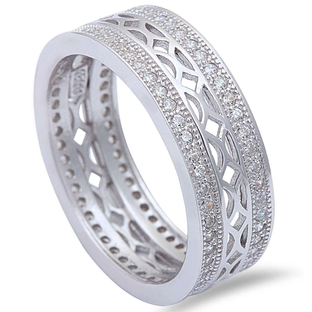 6.5mm Full Eternity Stackable Band 925 Sterling Silver Laser Cut Round Clear Diamond CZ Wedding Engagement Milgrain Band Ring Band for Ring - Blue Apple Jewelry