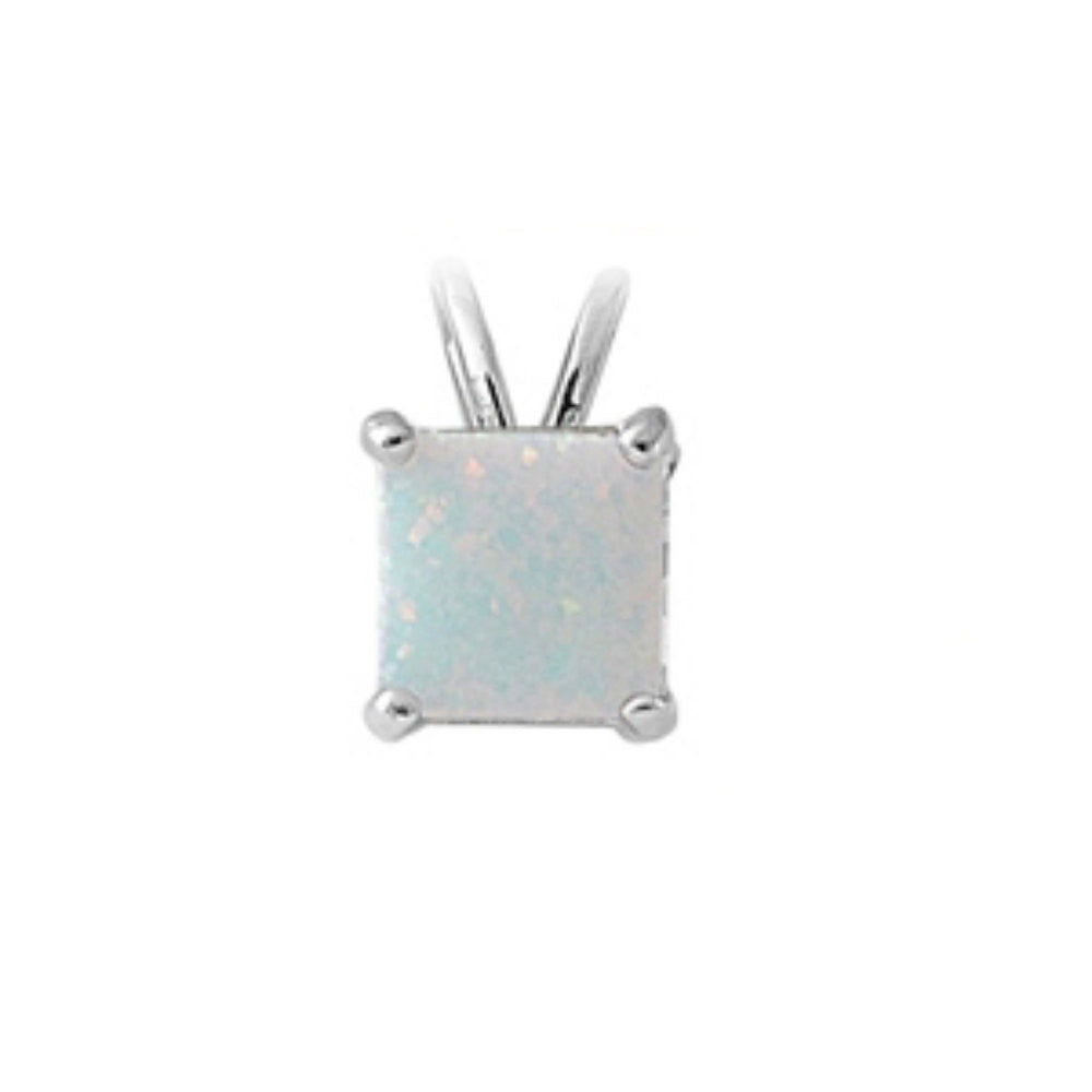7mm Princess Cut Lab White Opal Solitaire Pendant Charm For Necklace Solid 925 Sterling Silver White Opal Pendant Wedding Engagement Gift,  - Blue Apple Jewelry