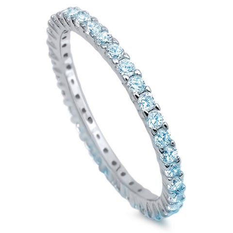 2mm Stackable Band 925 Sterling Silver Round Blue Aquamarine CZ Full Eternity Stackable Wedding Engagement Anniversary Ring Size 5-10 - Blue Apple Jewelry