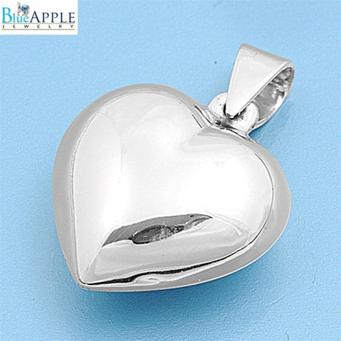 16mm Valentine Charm Heart Pendant Shiny Plain Pendant For Necklace Solid 925 Sterling Silver Heart Valentine's Day Jewelry Womens Gift - Blue Apple Jewelry