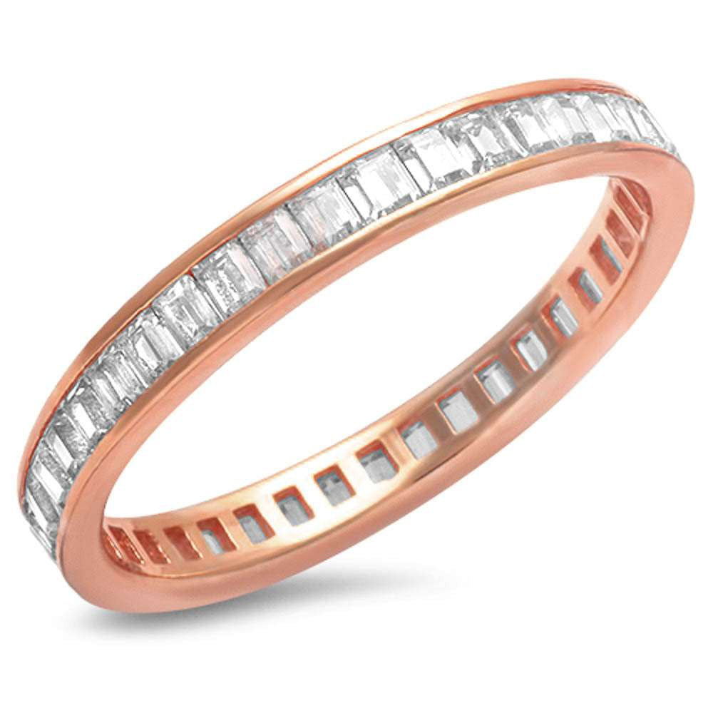 Rose Gold 3mm Full Eternity Baguette Diamond CZ Stackable Wedding Engagement Anniversary Band Fashion Ring Matching Band for Ring Top Gift
