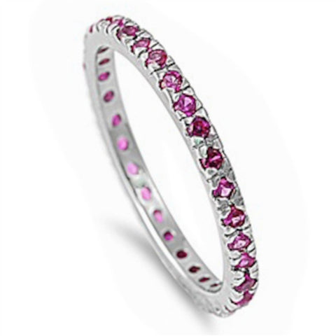 2MM Stackable Full Eternity Band 925 Sterling Silver Prong Set Round Red Ruby CZ Ladies Wedding Engagement Anniversary Ring 3-11 July Birth - Blue Apple Jewelry