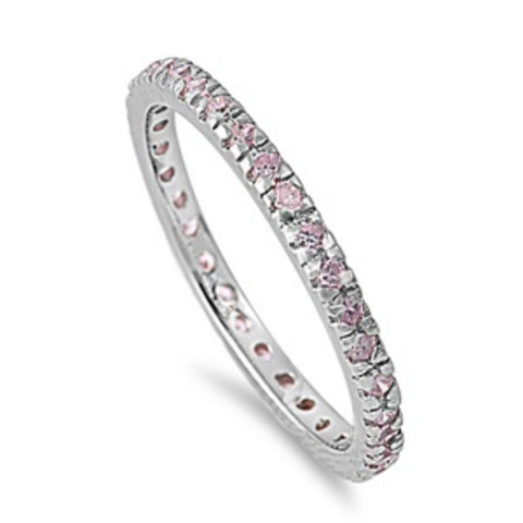 2MM Stackable Full Eternity Band 925 Sterling Silver Prong Set Round Washed out Pink Ice CZ Ladies Wedding Engagement Anniversary Ring 4-10 - Blue Apple Jewelry