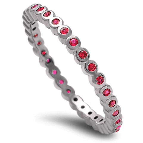 2mm Full Eternity Stackable Band Stackable Ring Wedding Engagement Anniversary Solid 925 Sterling Silver Bezel Round Red Ruby CZ - Blue Apple Jewelry