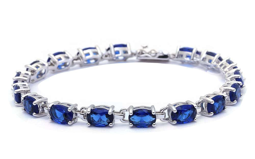 "Elegant Oval Bracelet 12.5CT Oval Shape Deep Blue Sapphire Bracelet 925 Sterling Silver 7"" Oval Cut Bracelet Wedding Engagement Gift - Blue Apple Jewelry"