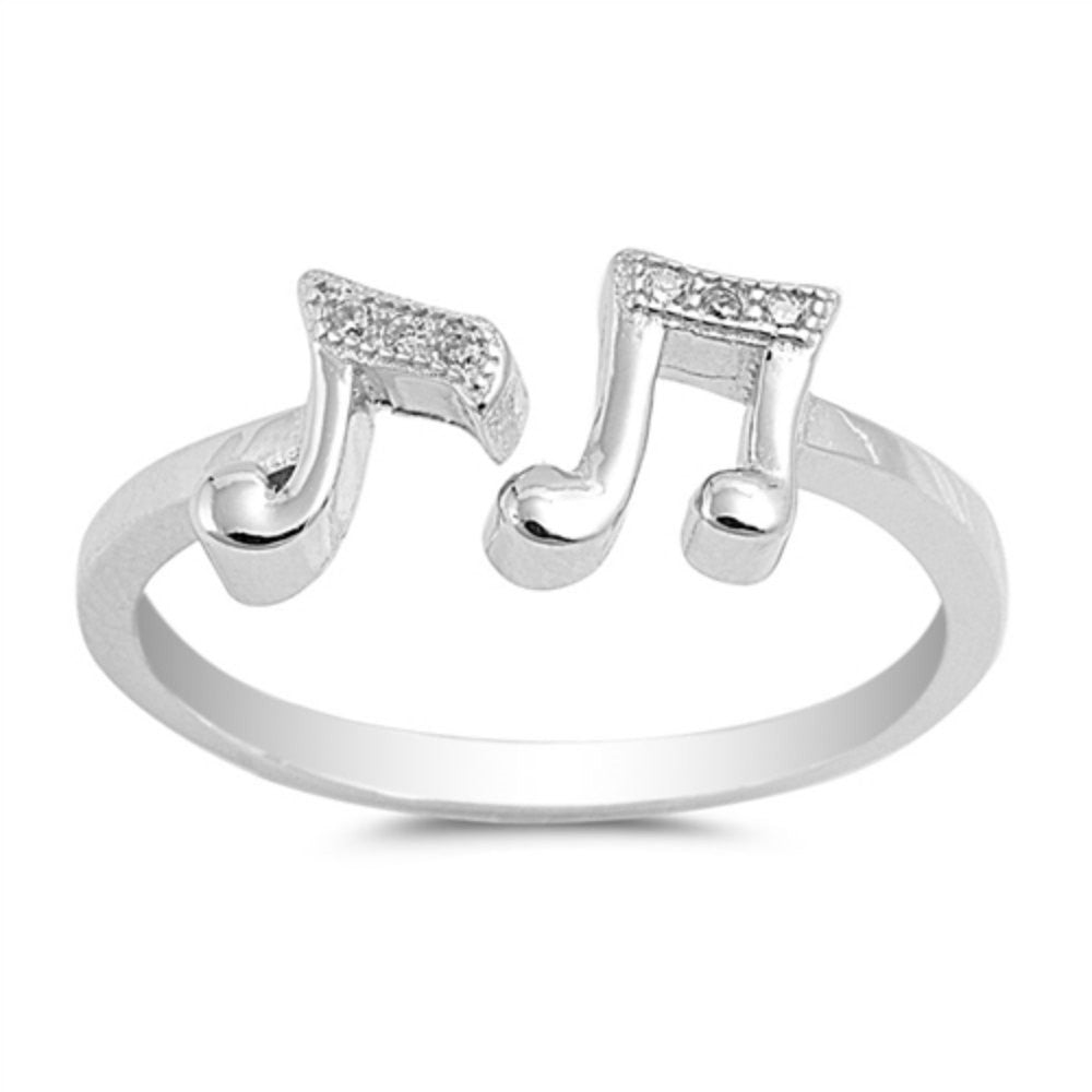 Ring Solid Sterling Silver 925 Rhodium Plated Clear CZ Face Height 1.5 mm Size 8