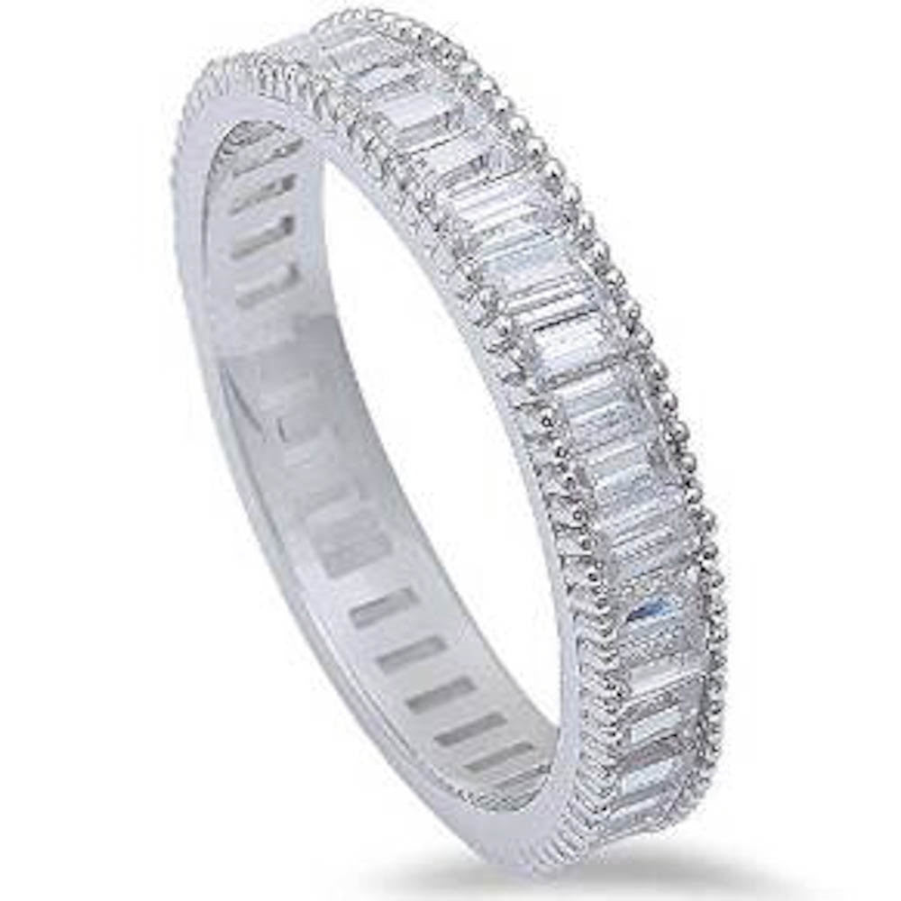 4mm Full Eternity Invisible Baguette Clear White CZ Stackable Wedding Engagement Anniversary Band Ring Matching Band for Ring Milgrain 4-10 - Blue Apple Jewelry