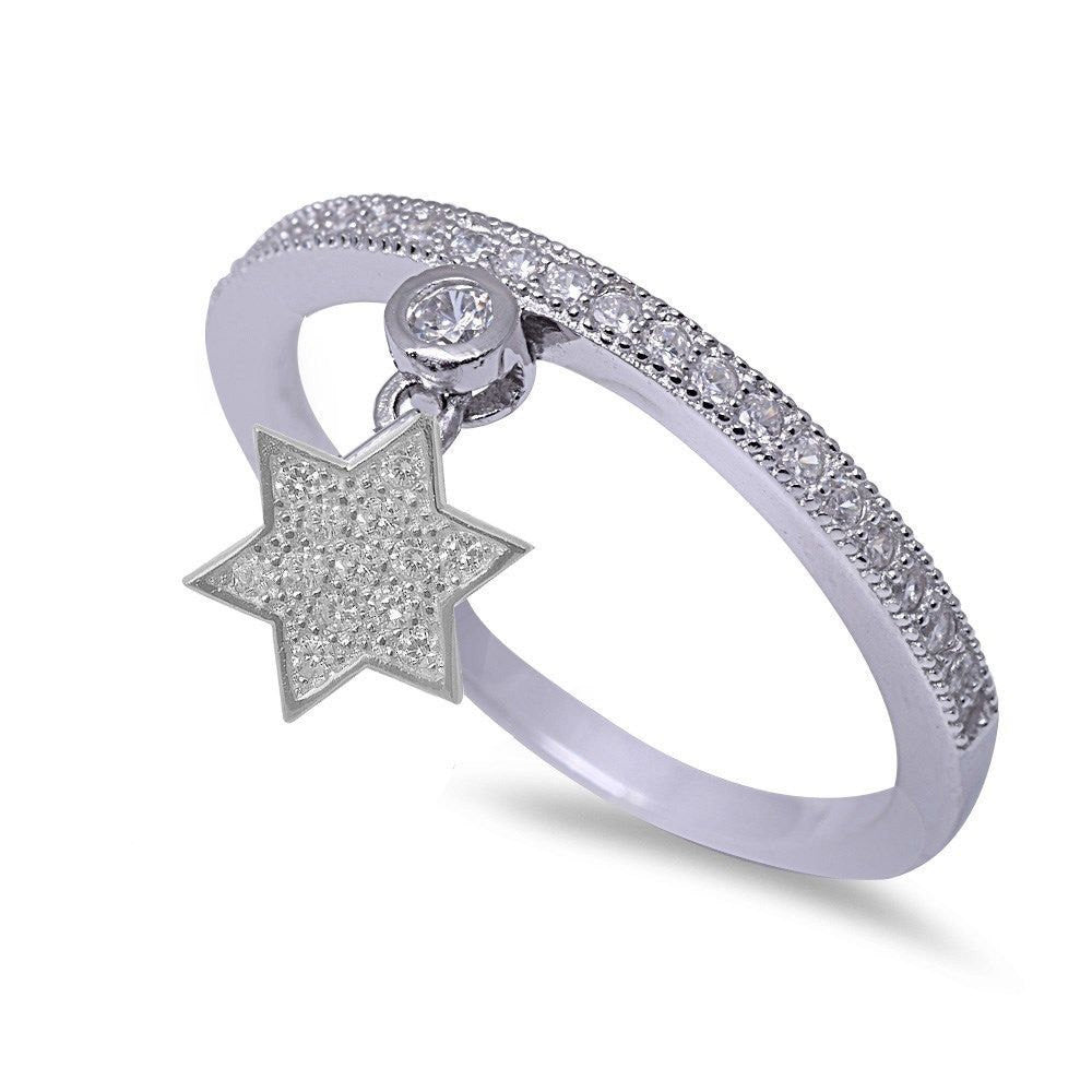 Petite Dangling Star of David Ring Jewish Star Solid 925 Sterling Silver Pave Round Russian Ice White CZ Half Eternity Ring Religious Gift - Blue Apple Jewelry