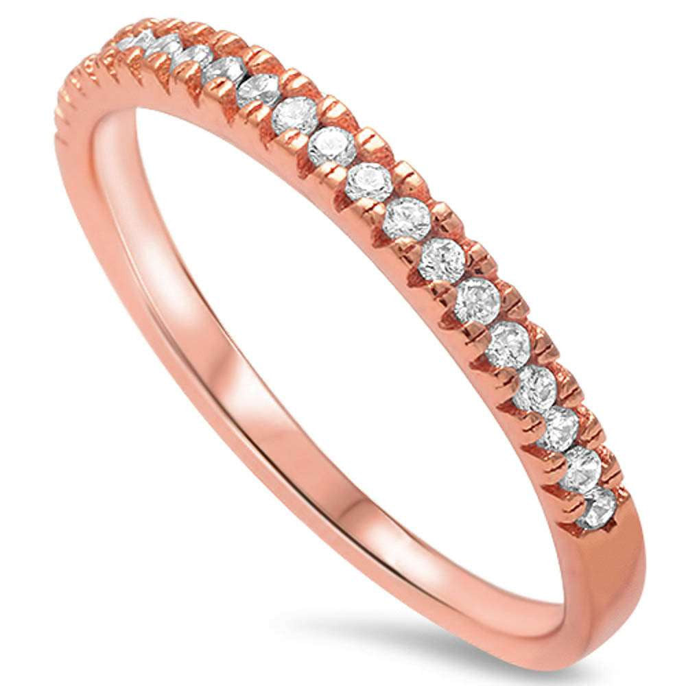 2mm Thin Half Eternity Wedding Engagement Band For Ring  Stackable Rose Gold Solid 925 Sterling Silver Round Pave Clear White CZ Eternity - Blue Apple Jewelry