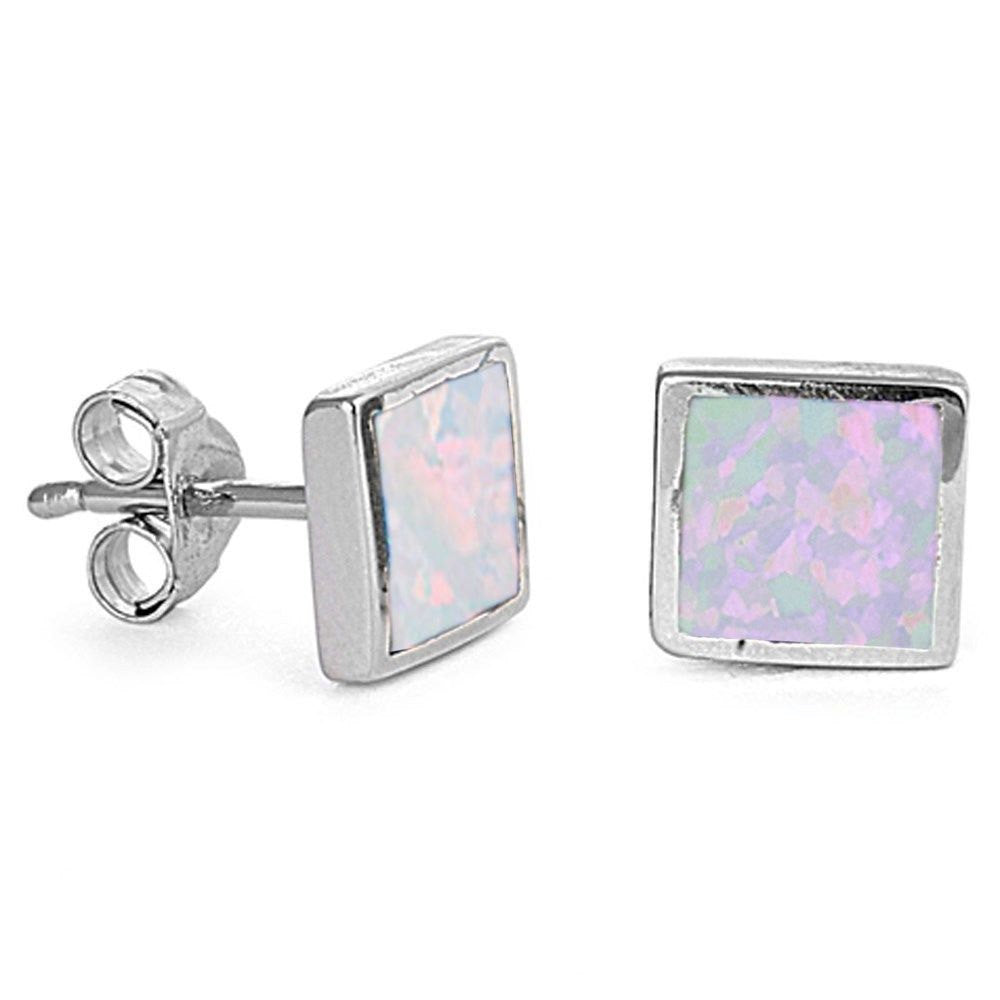Square Shape Lab White Opal Inlay Solid 925 Sterling Silver (6 mm) - Blue Apple Jewelry