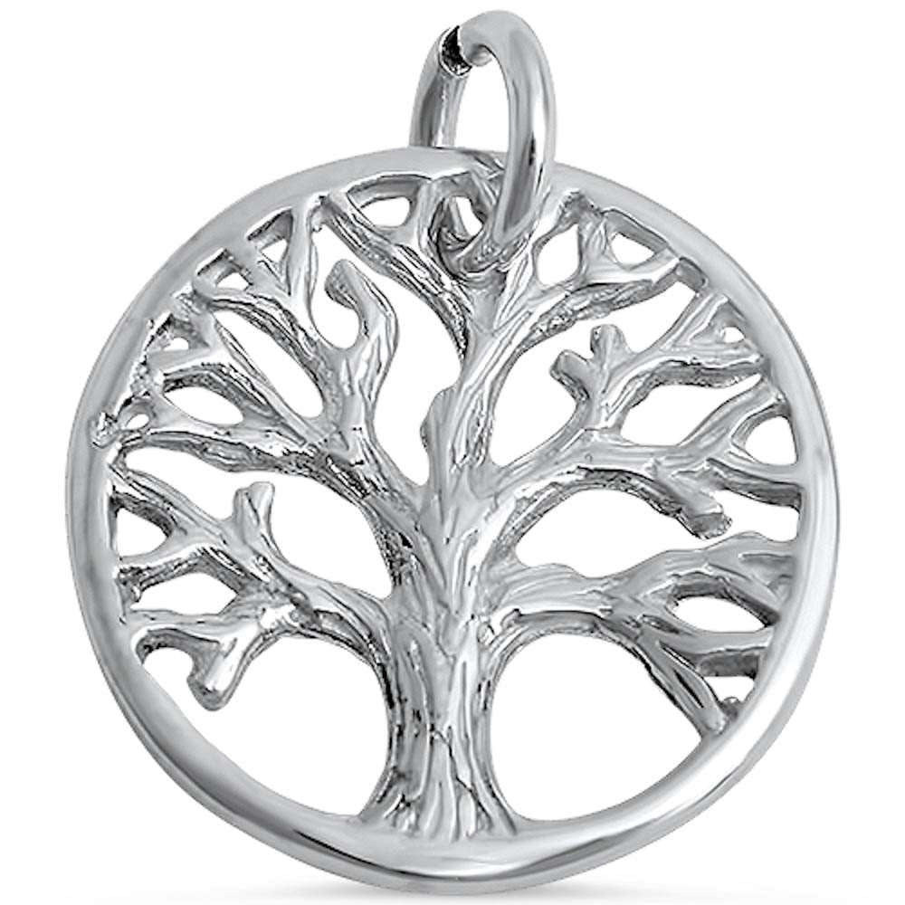Solid 925 Sterling Silver Original 14mm Round Tree Of Life Pendant Charm For Necklace Tree of Life Jewelry Collection Spiritual Gift