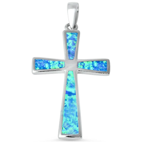 Cross Pendant Lab Blue Opal Simple Plain Blue Opal cross Pendant Charm for necklace Solid 925 Sterling Silver Cross Jewelry Gift - Blue Apple Jewelry