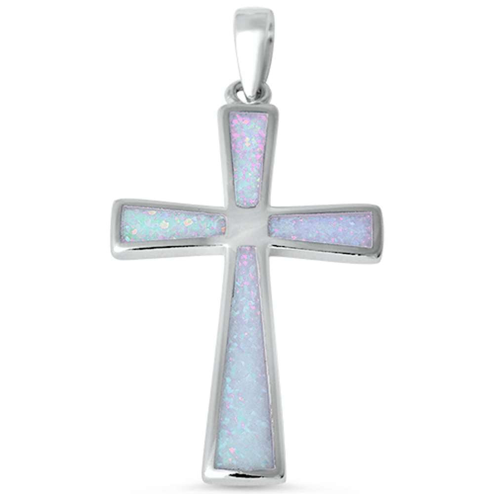 Cross Pendant Lab White Opal Simple Plain White Opal cross Pendant Charm for necklace Solid 925 Sterling Silver Cross Jewelry Gift,  - Blue Apple Jewelry