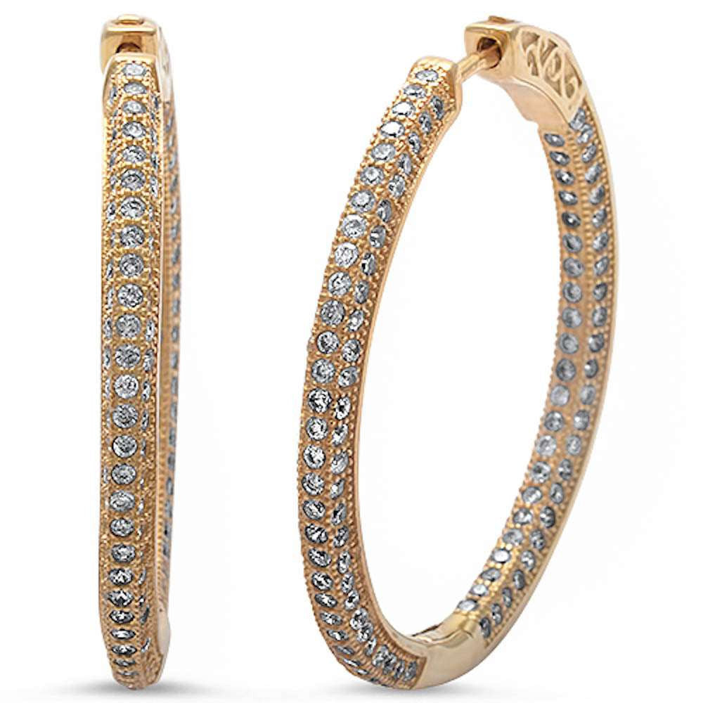 New Design 24mm Hoop Earrings Yellow Gold Solid 925 Sterling Silver Micro Pave Round White Clear CZ Full Eternity Hoop Earring April Stone - Blue Apple Jewelry