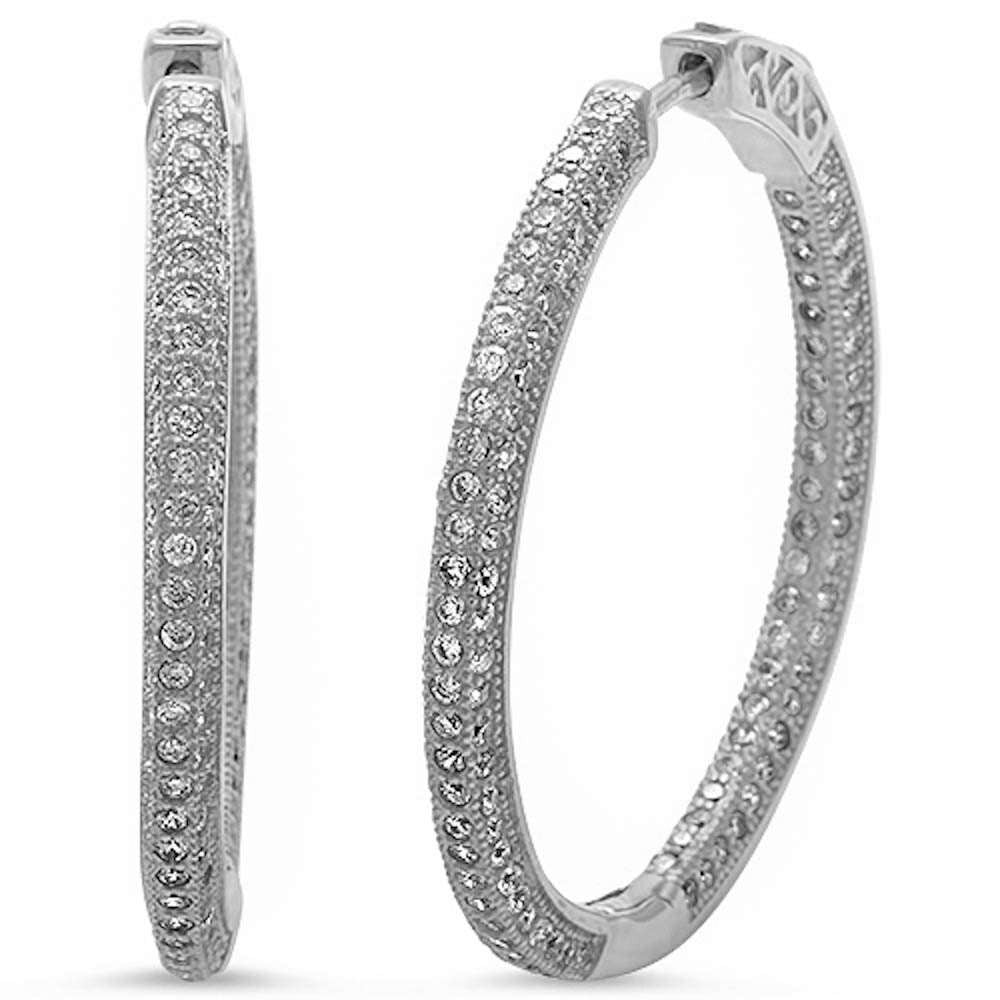 New Design 24mm Hoop Earrings Solid 925 Sterling Silver Micro Pave Round White Clear CZ Full Eternity Hoop Earring April Stone - Blue Apple Jewelry
