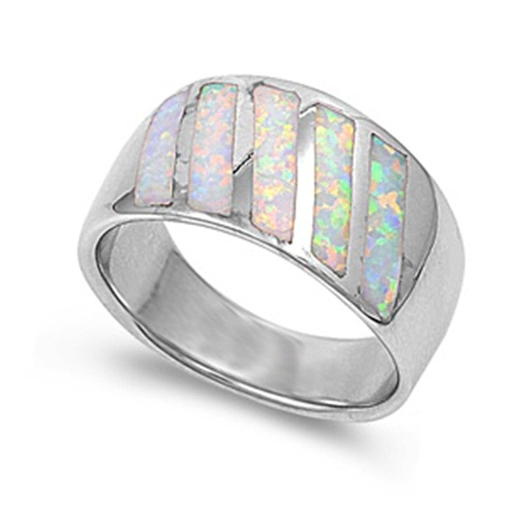 12mm Half Eternity Solid 925 Sterling Silver Lab Created White Opal Inlay Ladies Wedding Engagement Anniversary Band Ring Excellent Gift - Blue Apple Jewelry