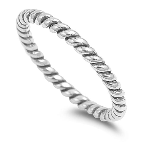 3.5mm Twisted Rope Braided Band Ring Men Women Band Ring Solid 925 Sterling Silver His Her Wedding Anniversary Band Ring - Blue Apple Jewelry