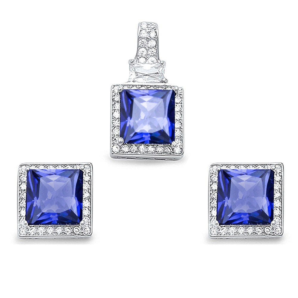 Halo Matching Set Halo Pendant Halo Stud Earrings Matching Set 9TCW Princess Cut Square Simulated Tanzanite Round Clear CZ Sterling Silver - Blue Apple Jewelry