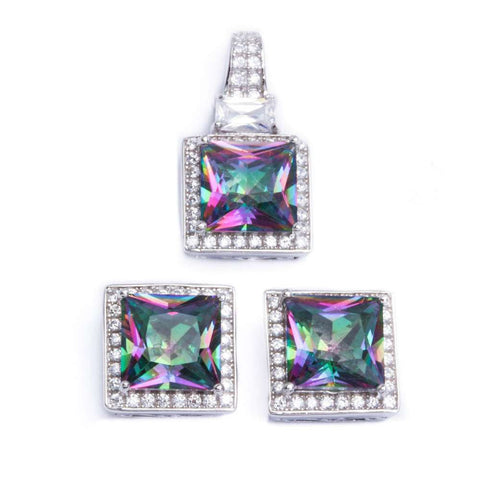 Halo Matching Set Halo Pendant Halo Stud Earrings Matching Set 9TCW Princess Cut Square Mystic Rainbow Topaz Round Clear CZ Sterling Silver - Blue Apple Jewelry