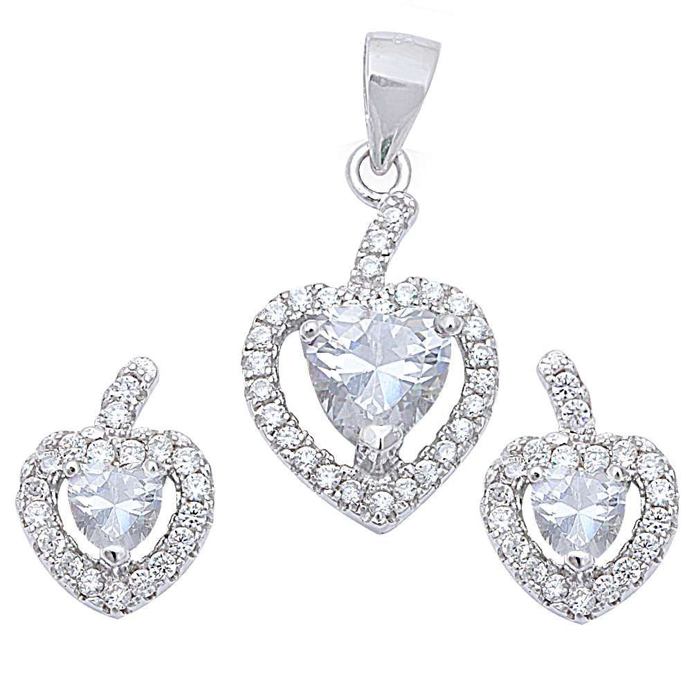 Halo Matching Set Halo Pendant Halo Stud Earrings Matching Set Heart White CZ Round Clear CZ Sterling Silver April Stone - Blue Apple Jewelry