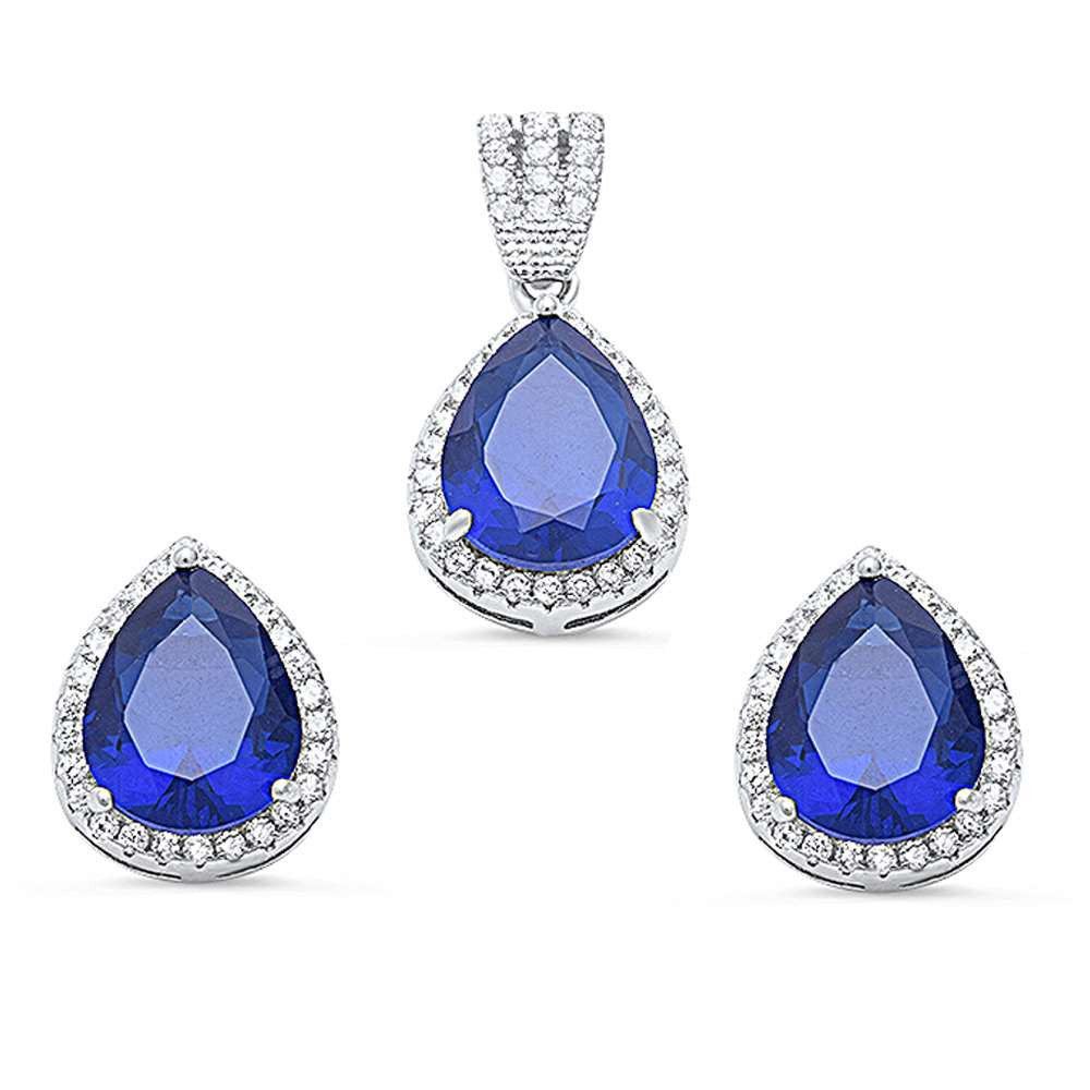 Halo Matching Set Halo Pendant Halo Stud Earrings Matching Set Teardrop Pear Shape Simulated Tanzanite Round Clear CZ 925 Sterling Silver - Blue Apple Jewelry