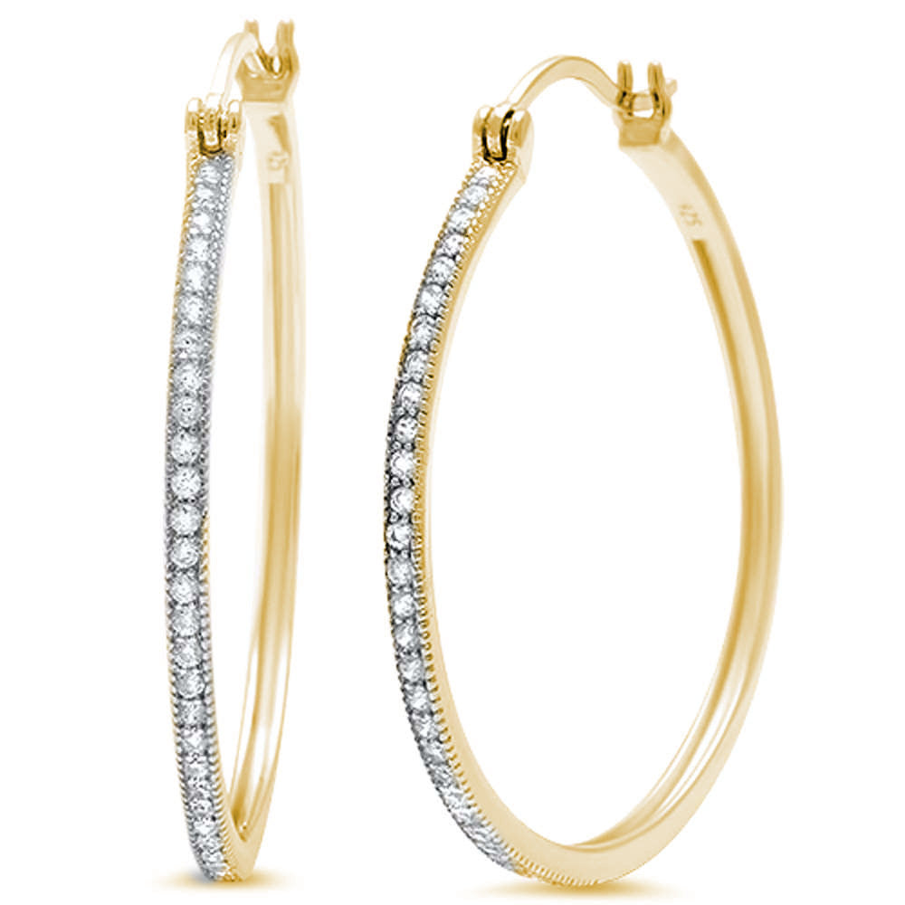 New Design 30mm Hoop Earrings Yellow Gold Solid 925 Sterling Silver Micro Pave Round White Clear CZ Half Eternity Hoop Earring April Stone - Blue Apple Jewelry