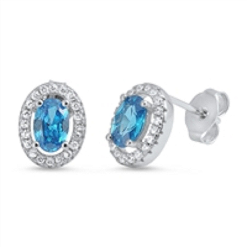 10mm Oval Cut Blue Topaz CZ Round Clear White CZ Solid 925 Sterling Silver Halo Engagement Stud Post Earrings Bridesmaid Gift - Blue Apple Jewelry