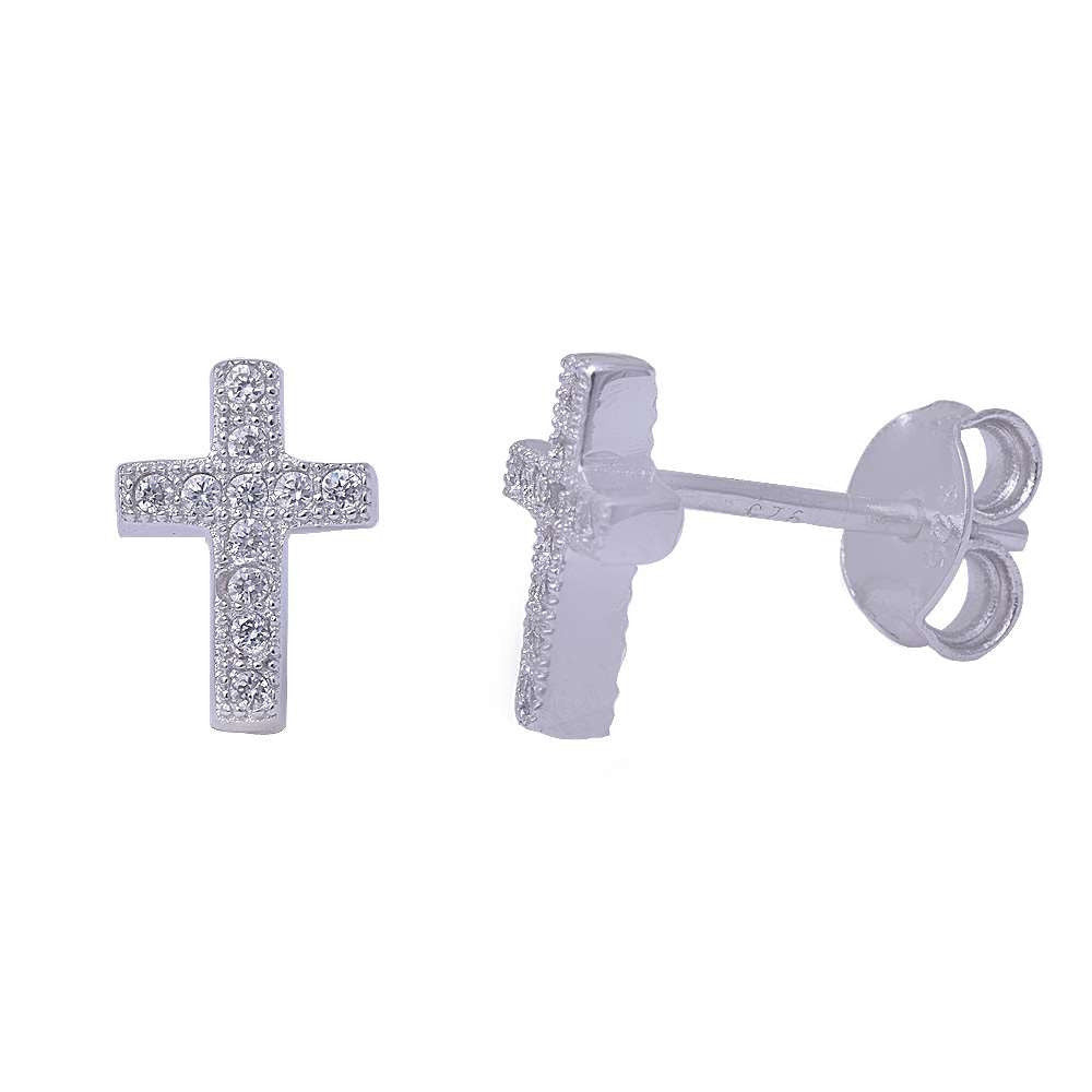Cross Stud Post Earrings Solid 925 Sterling Silver Round Simulated White Topaz Russian White CZ Cross Earring Religious Gift - Blue Apple Jewelry