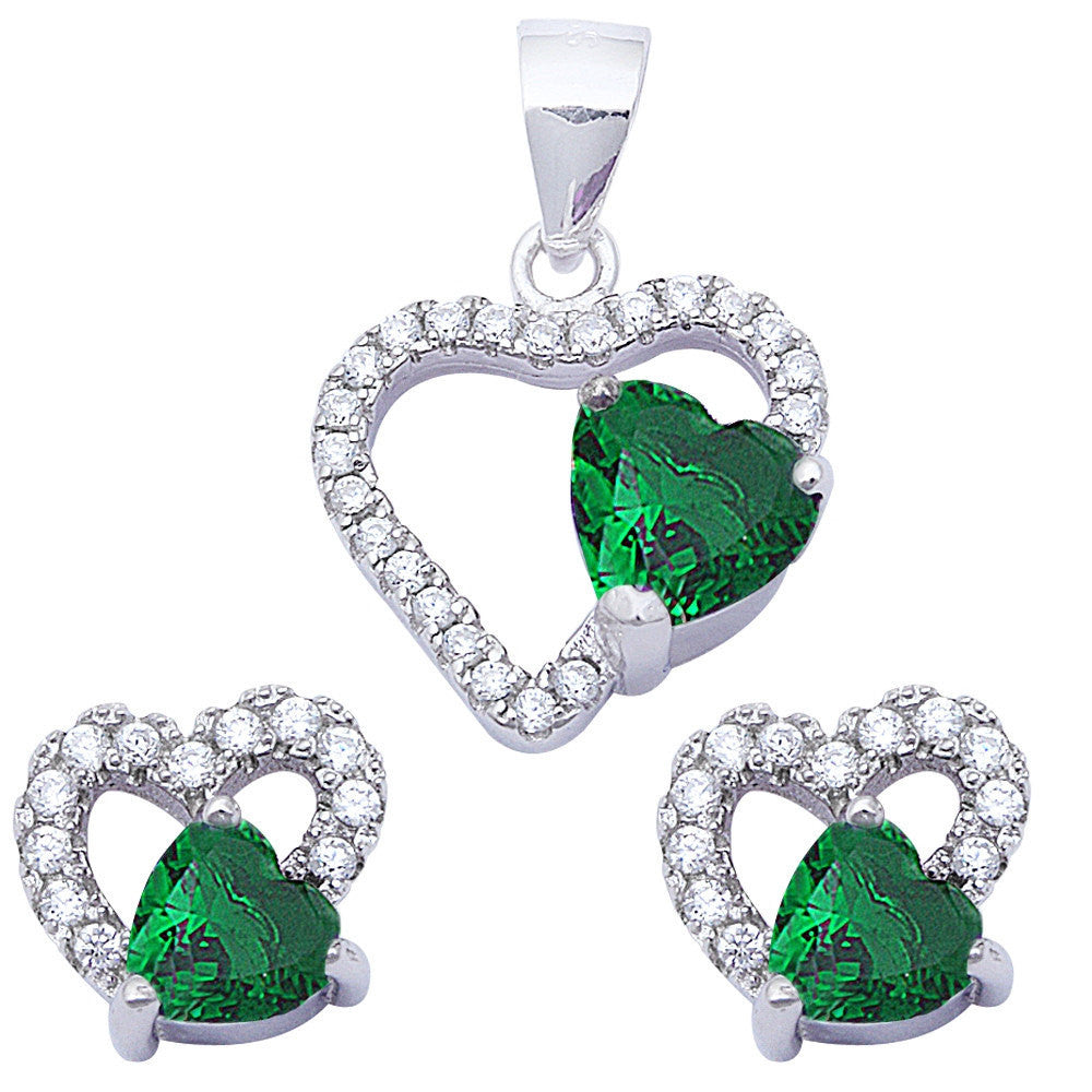 Halo Matching Set Halo Pendant Halo Stud Earring Matching Set Heart Emerald Green White CZ Round Clear CZ 925 Sterling Silver Gift - Blue Apple Jewelry