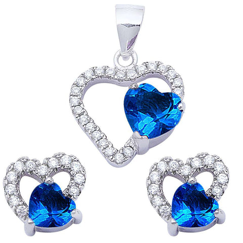 Halo Matching Set Halo Pendant Halo Stud Earring Matching Set Heart Blue Tanzanite White CZ Round Clear CZ 925 Sterling Silver Gift - Blue Apple Jewelry