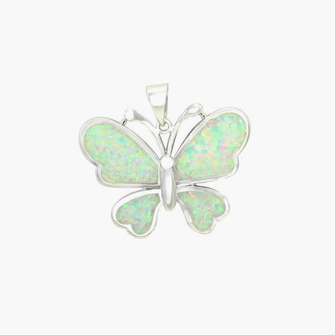 "1"" Butterfly Pendant Lab White Opal Inlay Solid 925 Sterling Silver Butterfly Charm Butterfly Jewelry Butterfly Lovers Gift - Blue Apple Jewelry"
