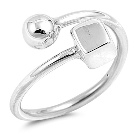 12mm Bypass Ball Square Ring Sideways Ring 925 Sterling Silver Simple Plain Ring For Ring Fashion Jewelry Gift Celebrity Inspired Jewelry - Blue Apple Jewelry