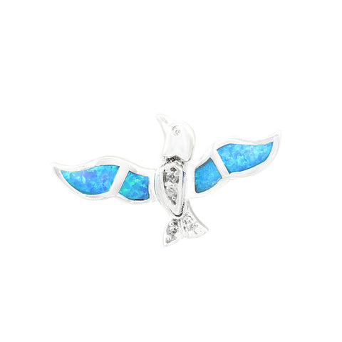 "0.70"" Bird Pendant Solid 925 Sterling Silver Lab Created Blue Opal  Round Clear CZ Bird  Charm for necklace Nature Gift Bird Lovers Gift - Blue Apple Jewelry"