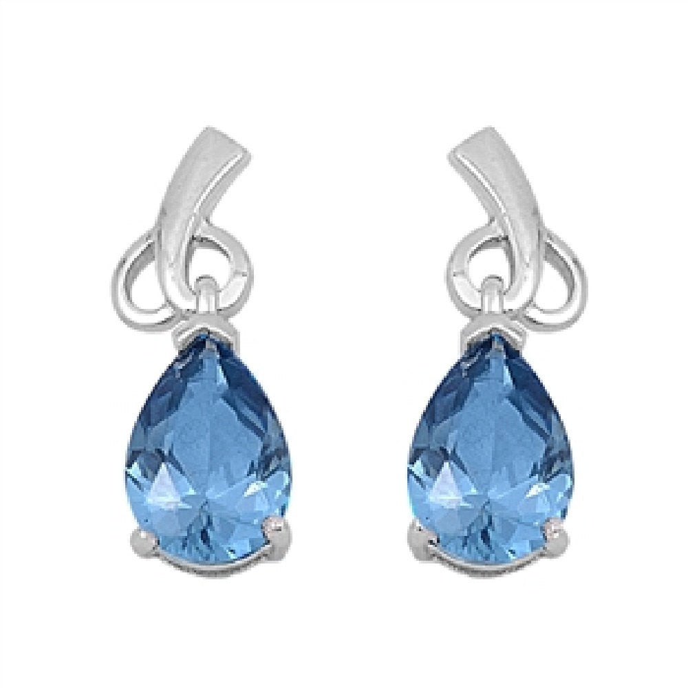 Abstract Heart Bridesmaid Dangling Fancy Earrings Tear Drop Pear Cut Aquamarine CZ 925 Sterling Silver Bridal Earring Bridesmaid Gift - Blue Apple Jewelry