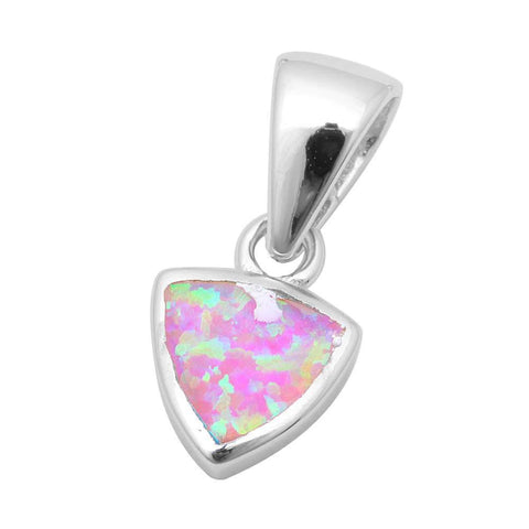 3D Pendant Trillion Shape Pendant Charm Solid 925 Sterling Silver Solitaire Lab Pink Opal Triangle Pendant - Blue Apple Jewelry