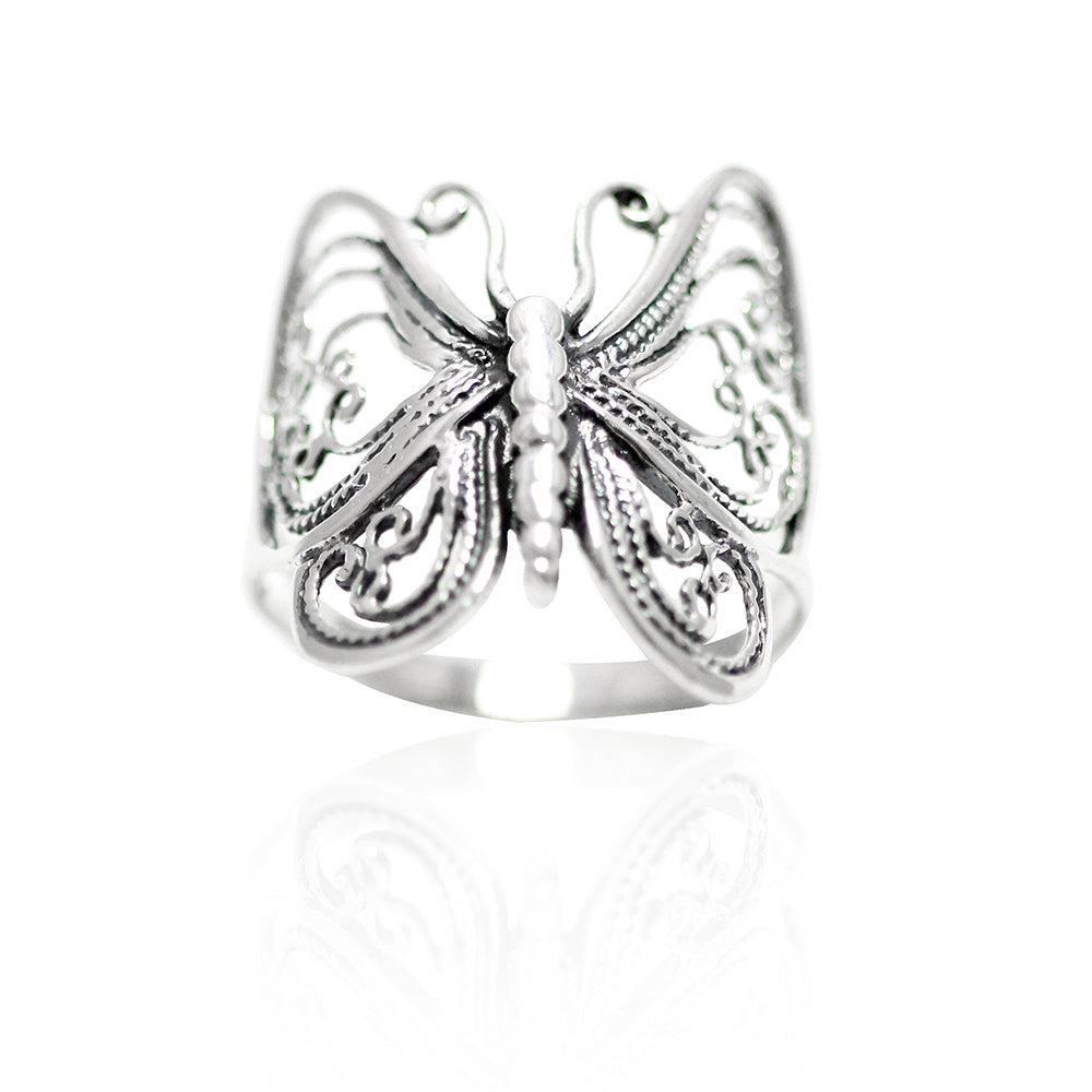 Oxidized Antique Finish Filigree Butterfly Ring Solid 925 Sterling Silver Simple Plain Butterfly Ring Butterfly Lovers Butterfly Jewelry