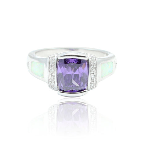 1.50 Carat Emerald Cut Purple Amethyst Round Clear CZ Accent Lab White Opal Solid 925 Sterling Silver Wedding Engagement Ring Heart